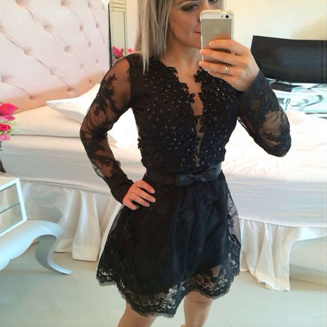 Elegant Full Long Sleeve Sheer O Neck Lace Prom Dresses Short 2017