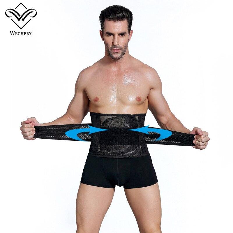 Wechery Slimming Belt Belly Men Body Shaper Corset Abdomen Tummy Shaperwear Waist Trainer Cincher Slim Girdle black friday deals