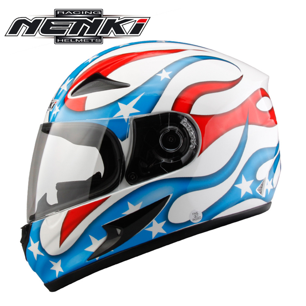ФОТО NENKI Full Face Motorcycle Helmet Capacete da Motocicleta Cascos Moto Casque Kask 816e Racing Riding Men Women Helmet with Scarf