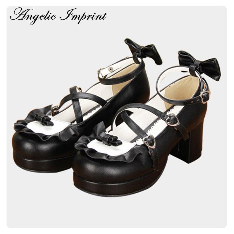 Girls Maid Lolita Cosplay Shoes Bowknot Strap Black PU Leather Block Heel Sweet Lolita Mary Jane