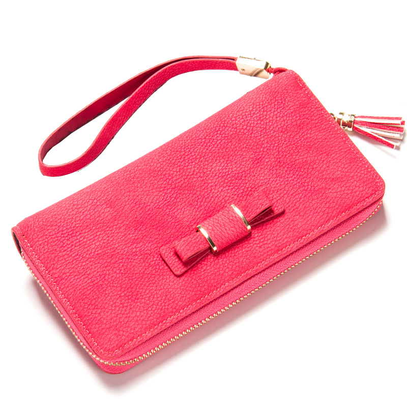 Fashion New Womens Long Zipper Purse Hand Rope Bow-Knot Design Mobile Phone Bit Coin Purses Multi ID Credit Card Holder Wallets