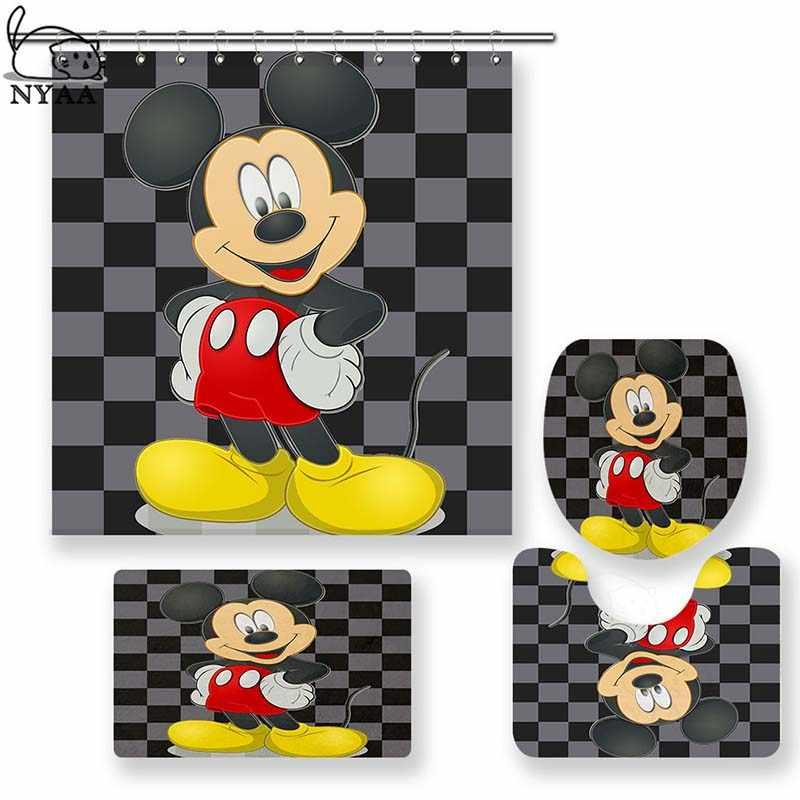 e72d8c809b85 NYAA 4 Pcs Cute Mickey Shower Curtain Pedestal Rug Lid Toilet Cover ...