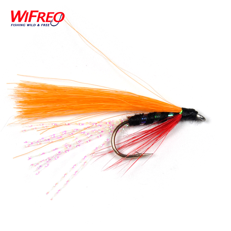 6 Pack Red Orange Tail Lures Humongous,Trout Flies Fishing Flies Size 10