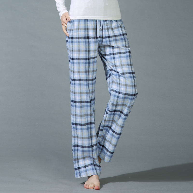 Sexy Plaid 100% cotton womens lounge pants Plus size sleep bottoms for women Female pajamas pants woman trousers for women 1