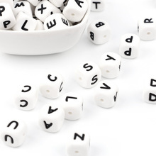 TYRY.HU 10pcs Letter Силиконовая Білезік Beads Baby Chewing Alphabet Bead Жеке Name DIY Teething Necklace 12mm Cube