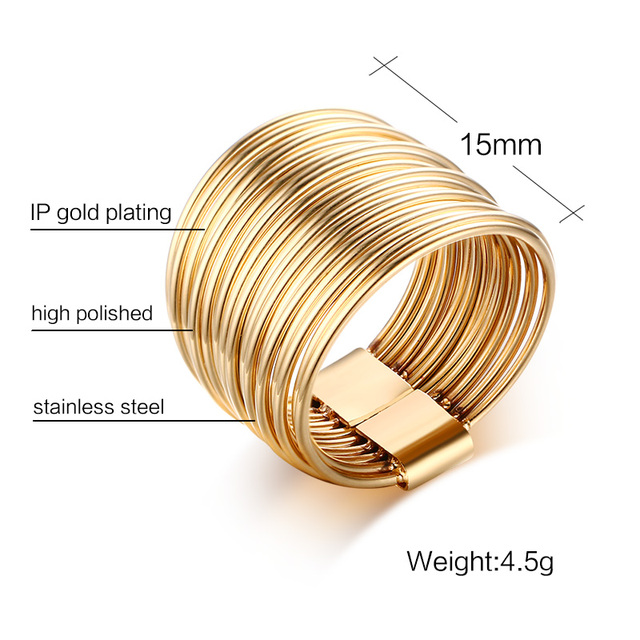5dd5d9c4669 Unique Rings for Women Gold-color Stainless Steel 10 Multi Plain Bands  Interlocked Stacked Ring Set Female Statement Ring