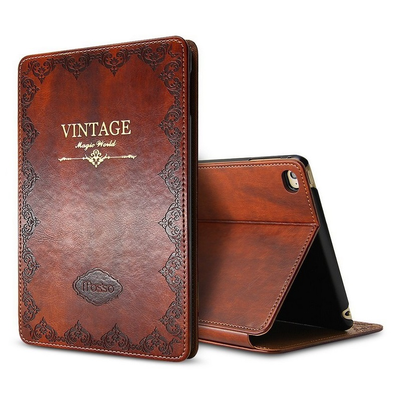 все цены на Solque Luxury Leather Tablet Case for iPad Air 2 Air2 9.7 inch Retro Vintage Slim Flip Hard Shell Smart Cover Cases Auto Sleep онлайн