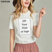 YOFOCOO Customized Print Summer Fashion Custom T-Shirt for Women DIY Your like Photo or Logo Top Tees T-shirt Womens
