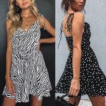 Women Zebra Pattern Polka Dot Spaghetti Strap Mini Dress for Summer -OPK cute spaghetti strap zippered candy color polka dot crop top for women