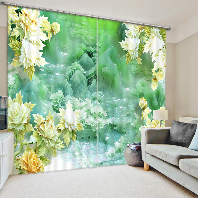 3D Abstract Flowers Curtains for Living Room Window Treatments Modern Curtains for Beding Room High precision