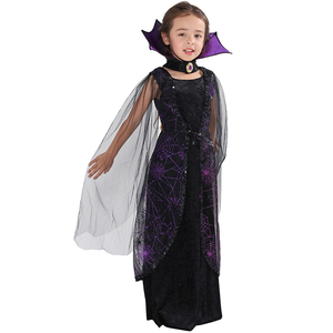 Image 4 - Eraspooky 2018 Purple Spider Vampire Cosplay Girls Halloween costume for kids Lace Cape Long Dress Carnival Party Queen Collar