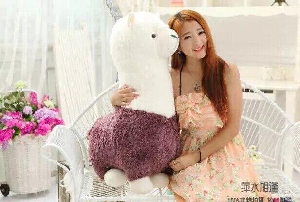 Énorme belle peluche mouton jouet créatif dieu bête poupée nouveau grand alpaga jouet cadeau environ 70 cm violet