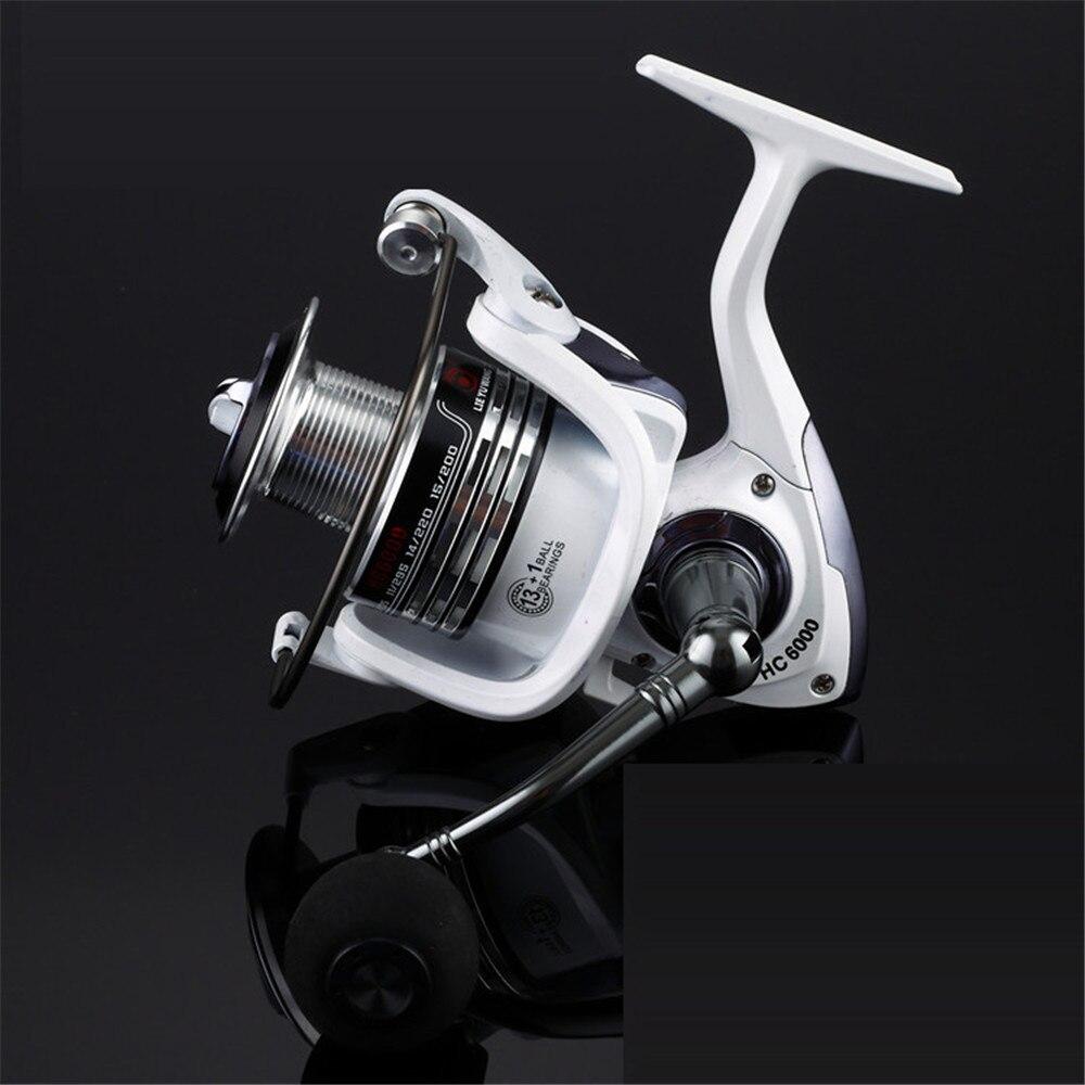 Купить с кэшбэком Full Metal Line Cup Fishing Reel Pre-Loading Spinning Wheel 2000 - 5000 Series 13+1 BB Soft  Handle Fish Wheel Fake Bait