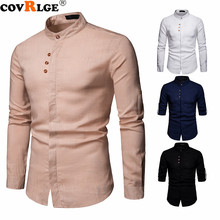 Covrlge Brand New Mens Spring Shirts Flax Henry Collar Business Casual Trim Adjustable Long-sleeved MCL196