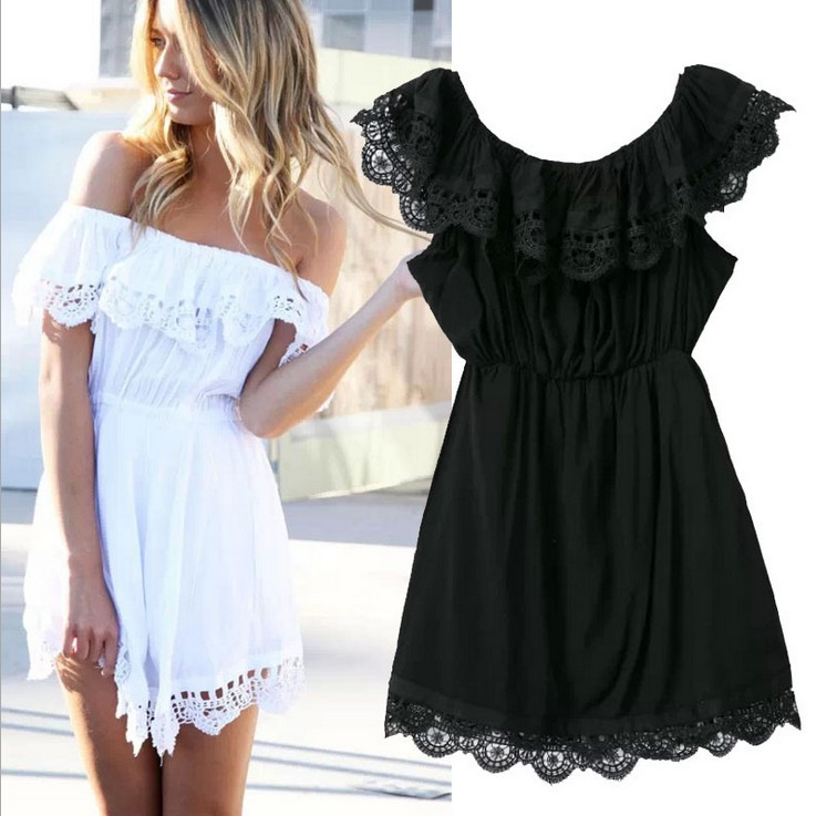 468f92c7 Nice Fashion Women Elegant Vintage Sweet Lace White Dress Stylish Sexy  Slash Neck Casual Slim Beach Summer Sundress Vestidos-in Dresses from  Women's ...