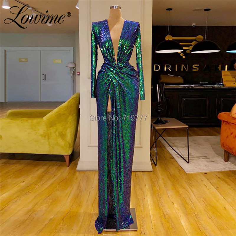 Deep V Neck   Evening     Dress   Couture Green Middle East Women   Dress   Straight Party Gowns 2019 Saudi Arabia Long Prom   Dresses   Vestido