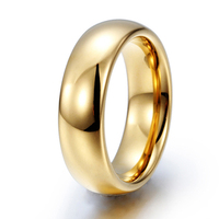 Classic Gold Color Tungsten Carbide Rings for Man Woman Lover Dome Band Alliance Bridal Jewellery Couples Ring