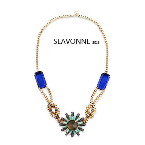 Freeshopping Retro fashion exaggerated pattern Sapphire Necklace crystal jewelry dropshipping  N9227