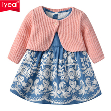 IYEAL Princess Baby Girl Birthday Clothes Cardigan Jacket +Sleeveless Dresses Toddler Girls 2 Piece Dress Set Infant Outfits