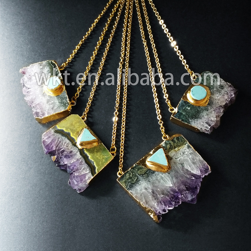 WT N411 Wholesale slice raw crystal with howlite element pendant necklace fashion uraguay crystal necklace