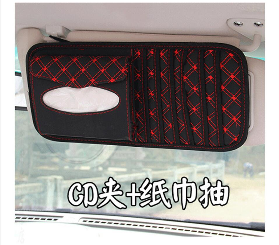Car Sun Visor multifunctional Tissue CD Box with Holder 14 Disc Tidy Sleeve for DVD Card Case Storage Holder Organizer