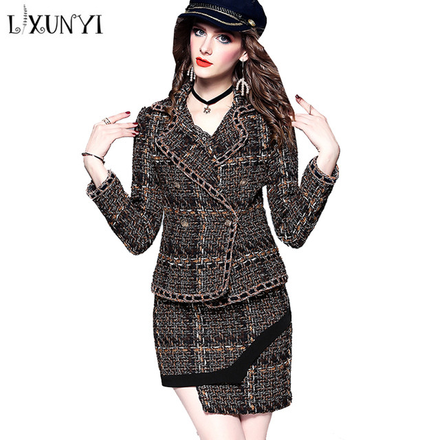 LXUNYI 2018 Autumn Thick Tweed Skirt Set Two Piece Suit Womens Set Crop Top Jacket And Mini Skirt Set Casual Fashion Suit Runway