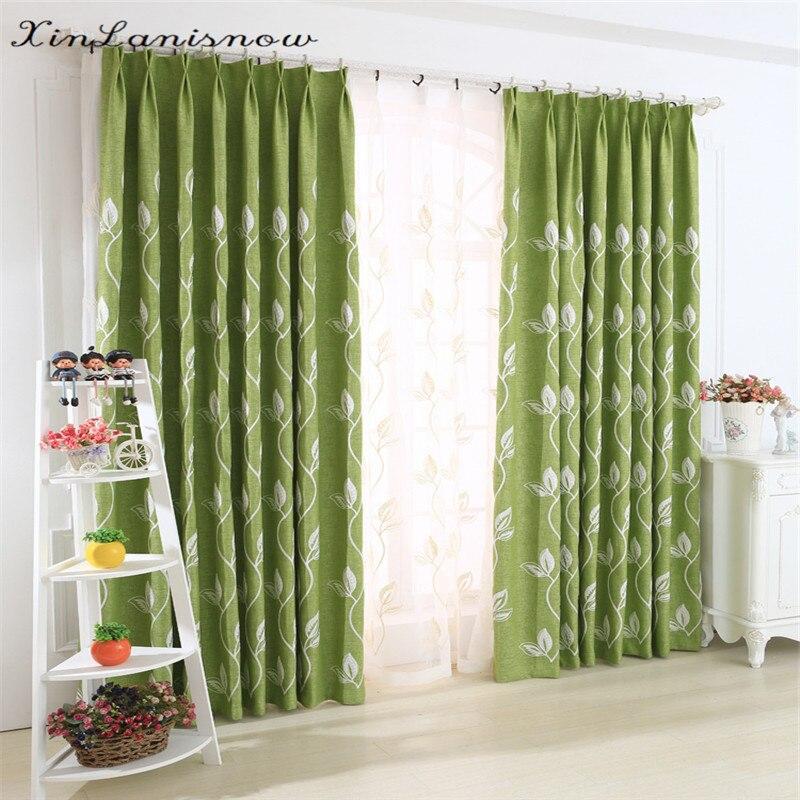 Modernen Minimalistischen Garten Grün Stickerei Volle Schattierung Baumwolle Vorhänge für Wohnzimmer Esszimmer Schlafzimmer