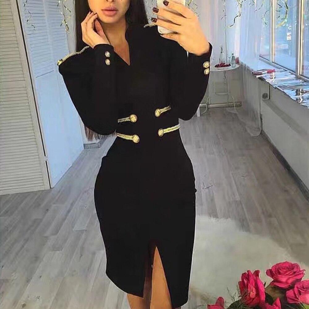 2019 Party Kleid Elegante Langarm Weihnachten Ft18967 Split Handmake Missord Taste V Minikleider Ausschnitt Frauen Sexy Weibliche Low zpqMSUVG