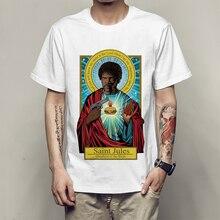 2017 Fashion Brand Pulp Fiction T shirt Saint jules Print T shirt Summer Short Sleeve Shirts Tops Catholicism Tees T-Shirt tees