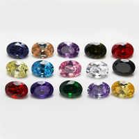 15pcs di Colore CZ 1pcs Per Colori Formato 4x6 ~ 10x12mm Sciolto Forma Ovale Sintetico Cubic zirconia Pietra