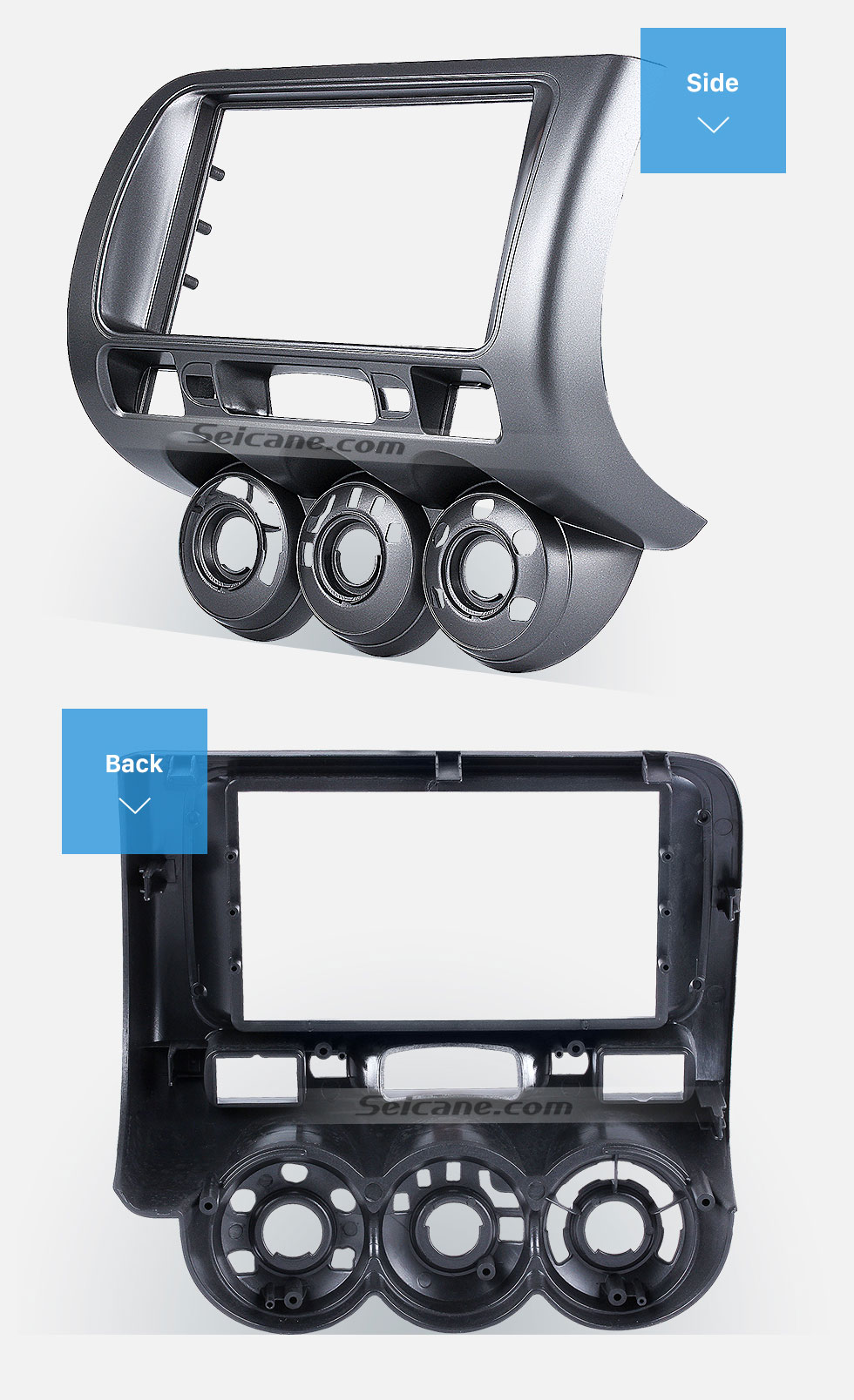 This fascia is specially designed for the modified installation of a double  din car radio for 2002-2008 Honda Jazz (Manual AC, LHD).
