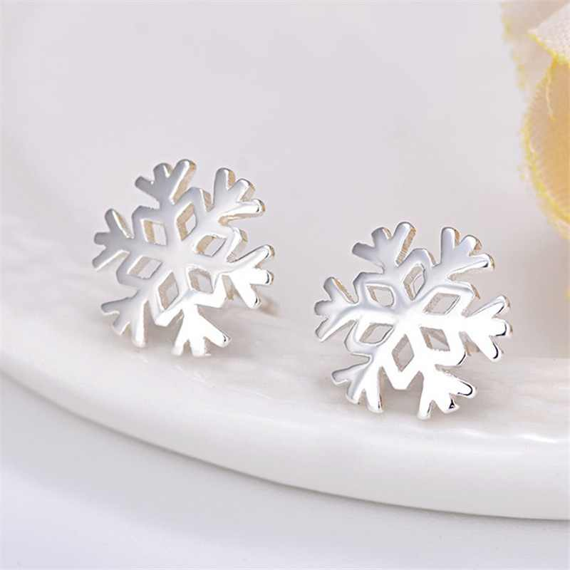 100% 925 Sterling Silver Snowflake Stud Earrings for Women Birthday Christmas Gift Jewelry pendientes boucle d oreille A059