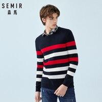 SEMIR мужской полосатый тонкий вязаный свитер, Повседневный свитер с опущенным плечом, с ребристой горловиной, манжетами и подолом, весна-осен...