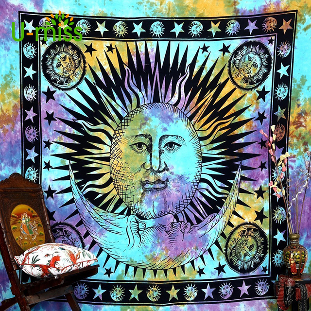 U Miss Colorful Psychedelic Celestial Indian Sun Wall