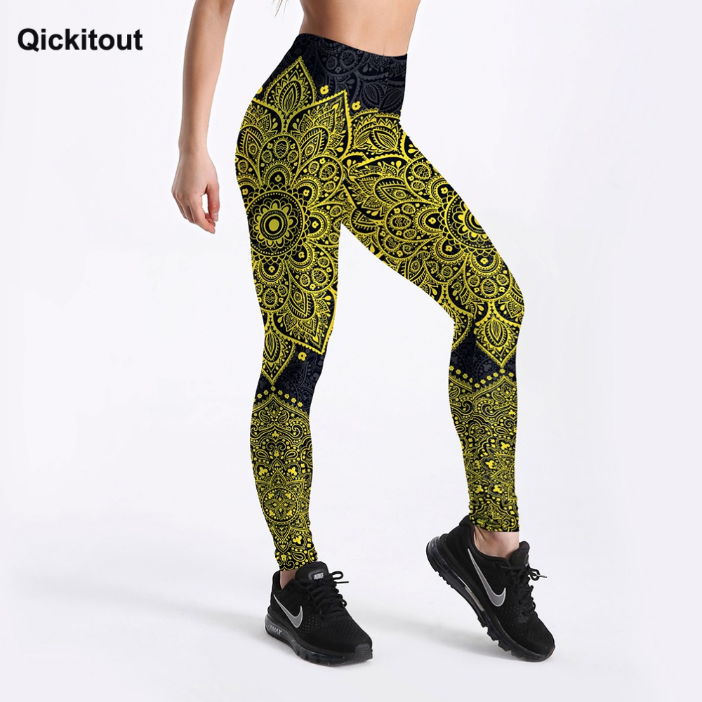 Qickitout New Summer Style Women Leggings Yellow&Black Floral Printed Leggings Sexy Girl Leggings Workout Casual Leggings S-4XL