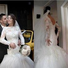2015 Vestidos de novia Romantic Long Sleeves Mermaid Wedding Dresses Backless Tulle Lace Gowns Robe De Mariage Brides