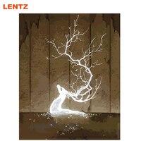 シルバーライトアイス鹿油絵抽象画像による番号デジタル画像