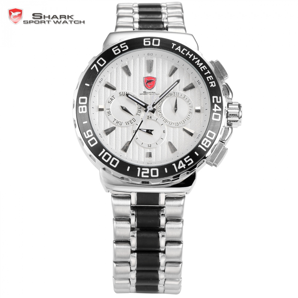 Blacknose Shark Sport Watch White Silver Stainless Steel Band Auto Date Day Waterproof Men s Sports
