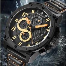 21e5cc831ac PROJETO PAGANI Esportes Cronógrafo de Quartzo de Couro Relógios Homens Marca  De Luxo Militar À Prova D  Água Relógio Militar Rel.