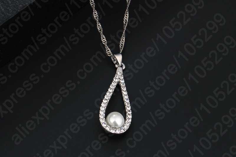 Luxo senhora 925 prata esterlina brilhando cz cristal gota de água pérola artificial colares brinco conjunto para o casamento feminino jóias