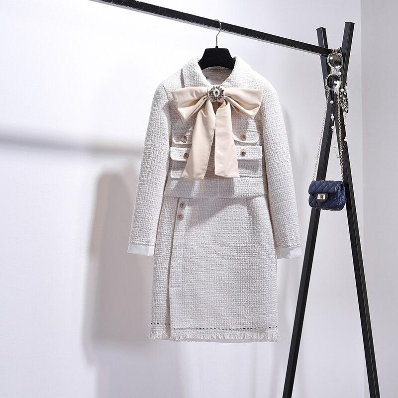 2018 Fall Women Skirt Suit Small Fragrant Big Bow Wool Blend Jacket Coat+woolen Tassel Skirt Lady Elegant Skirts Sets Two Piece