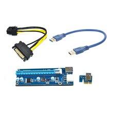 30 см PCI-E PCIe PCI Express 1x до 16x Riser Card с USB3.0 riser Extender Кабель SATA к 6Pin кабель питания для bitcoin добыча