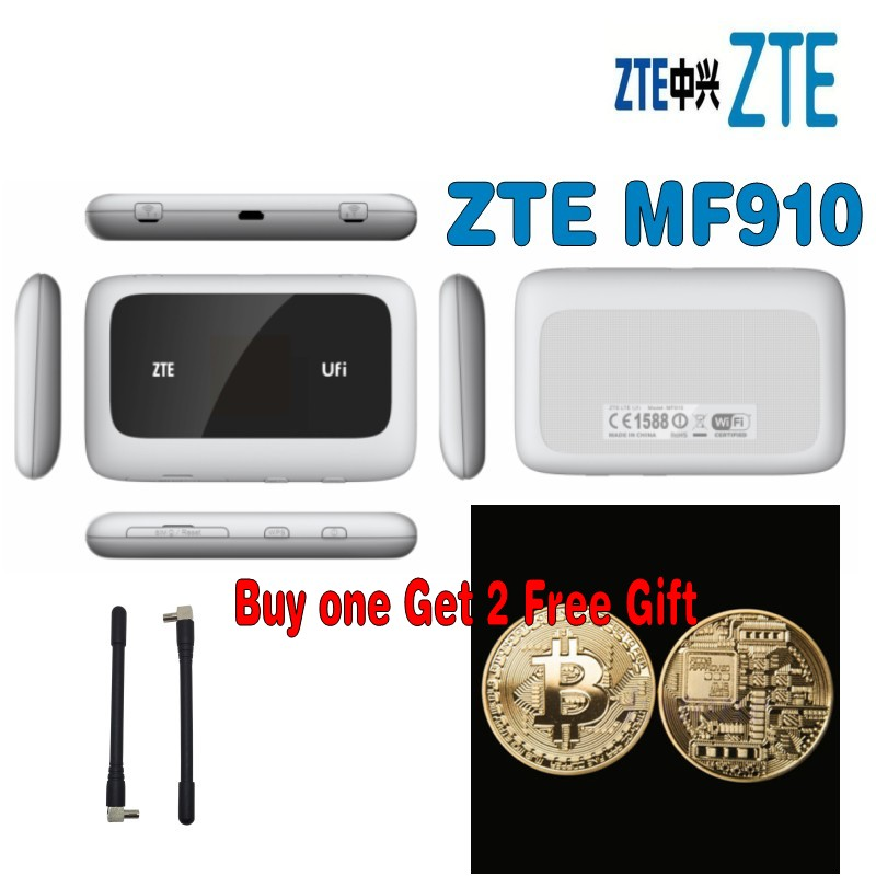 (+ 2 pcs 4g antena) ZTE MF910 4G LTE FDD700/900/1800/2100/2600 Mhz Móvel MiFi com o dom gratuito