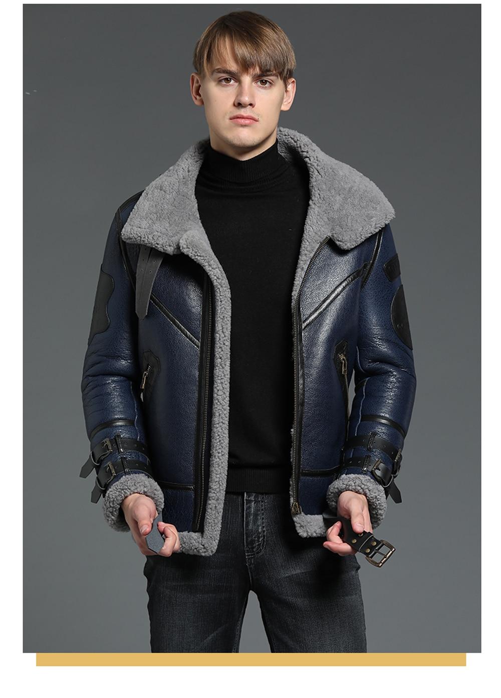 2019 Fashion 100% Quality Real Sheepskin Fur Men Coat Genuine Full Pelt Sheep Shearling Male Winter Jacket Brown Men Fur Outwear