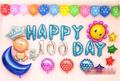 50pcs baby birthday font b balloons b font font b set b font 100 days baby