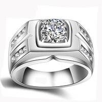 YANHUI 원래 자연 925 실버 반지 소나 1 캐럿 다이아몬드 약혼 반지 큐빅