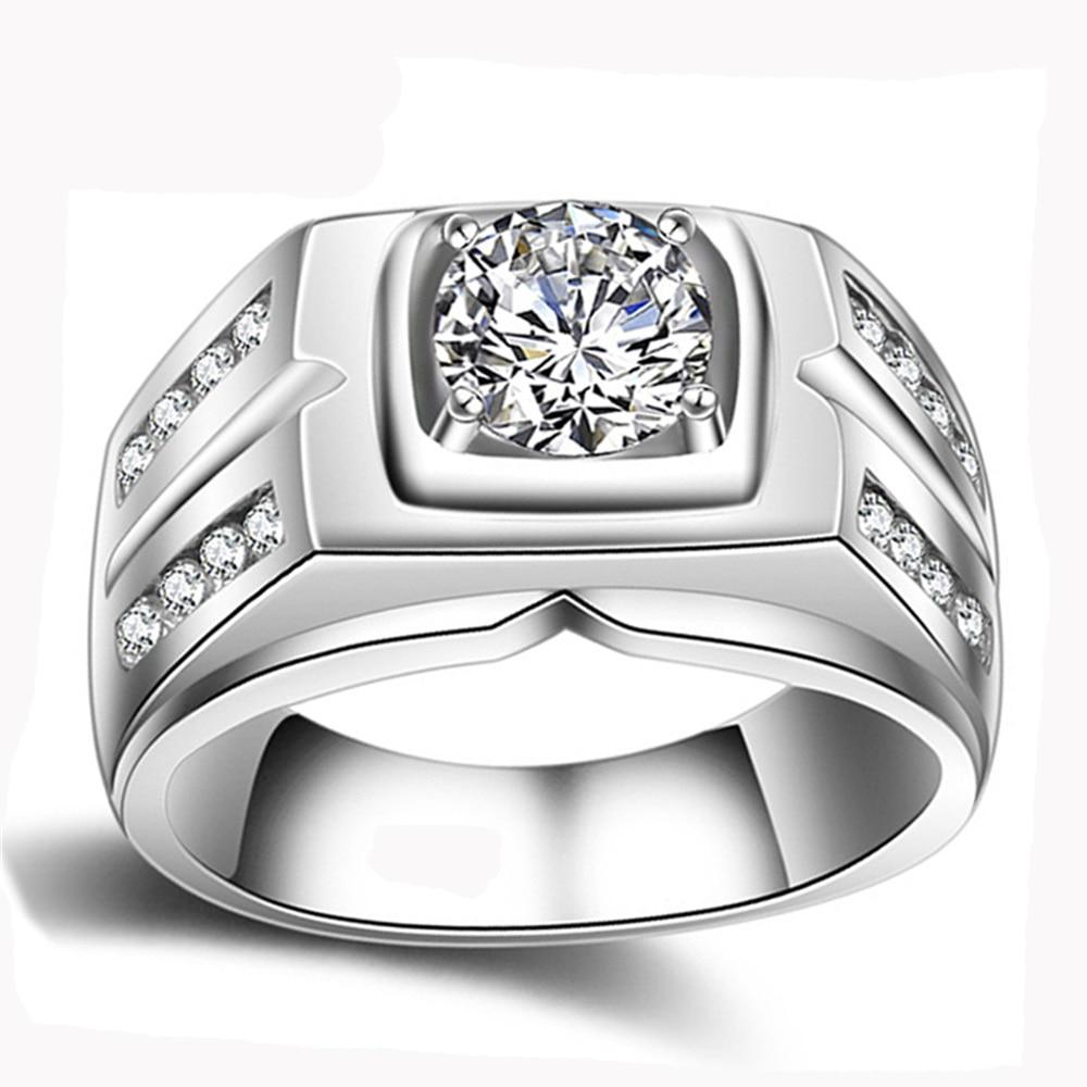 YANHUI D'origine Naturel 925 Argent Anneaux Pour Hommes Sona 1 Carat Diamant Bagues de Fiançailles Cubique De Mariage Zircone Anneaux Hommes Bijoux
