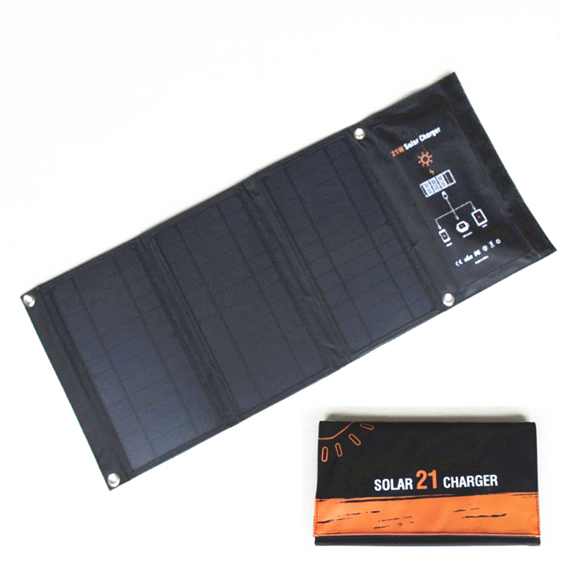 Solar charger 21W Solar Panel with Dual USB Port Waterproof Foldable Solar Cells for Smartphones Tablets and Camping Travel