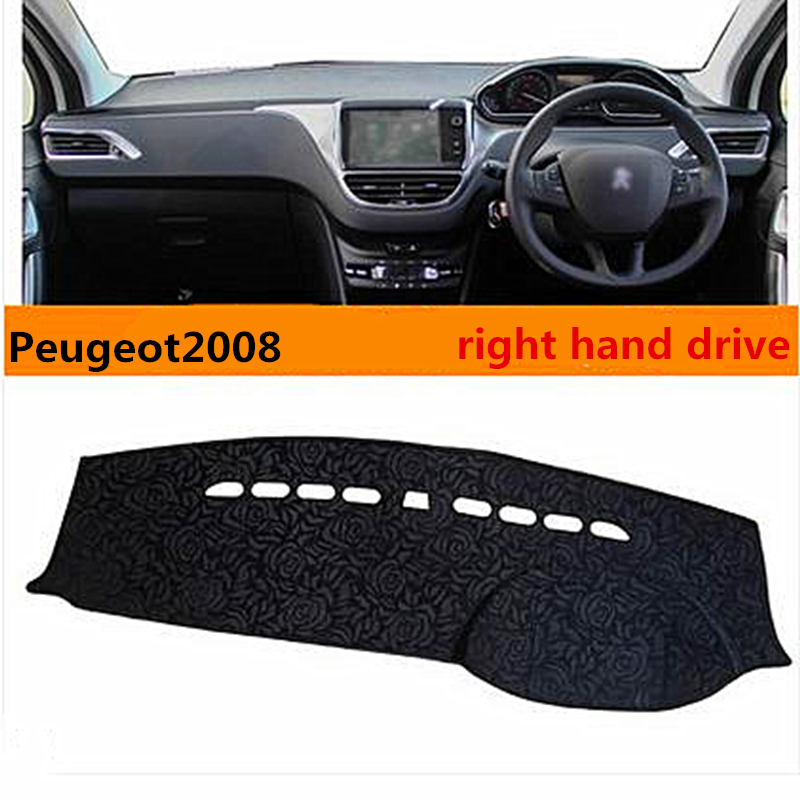 Hight quality right hand dirve creative style car dashboard pad for Peugeot 2008 insulated cover for