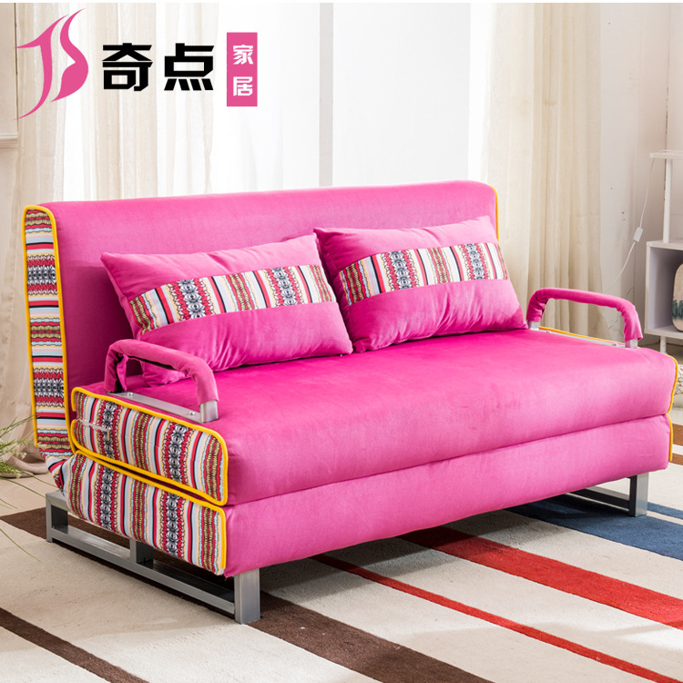 Multi function folding sofa bed small apartment washable fabric ...